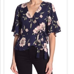 LIGHT AND AIRY! Floral Wrap Top
